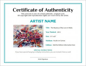 Documenting the sale of your artwork agora advice blog for Certificates of authenticity templates