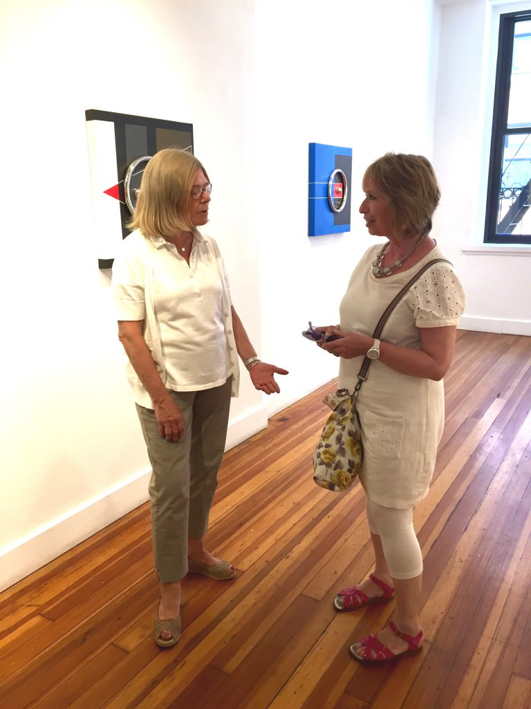 Gallery Director, Angela Di Bello (left), and artist Karen Greville-Smith (right) at Agora Gallery 6/24/2015