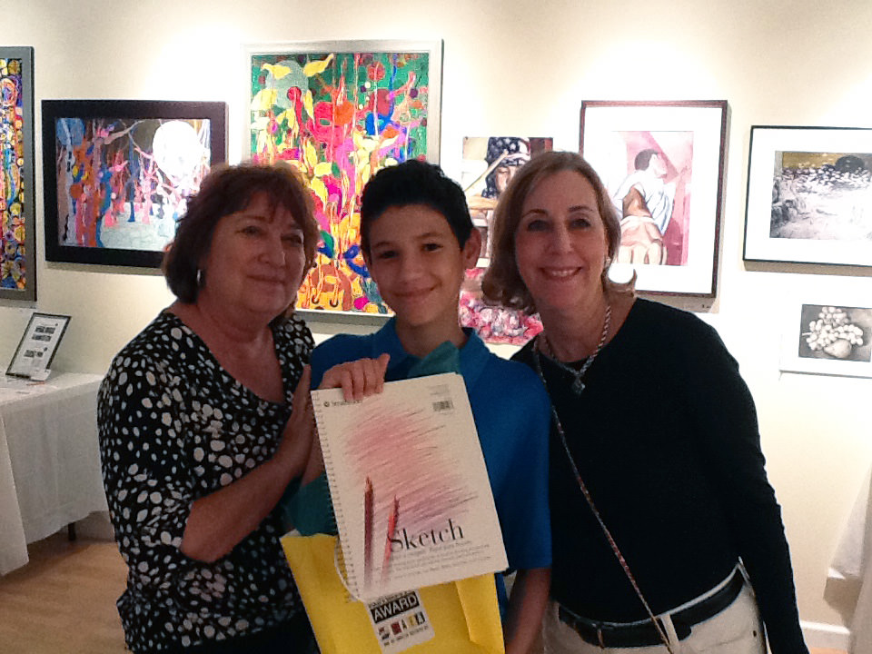 Marlene and Marilyn with a recipient of the Amazing Sketchbook Award