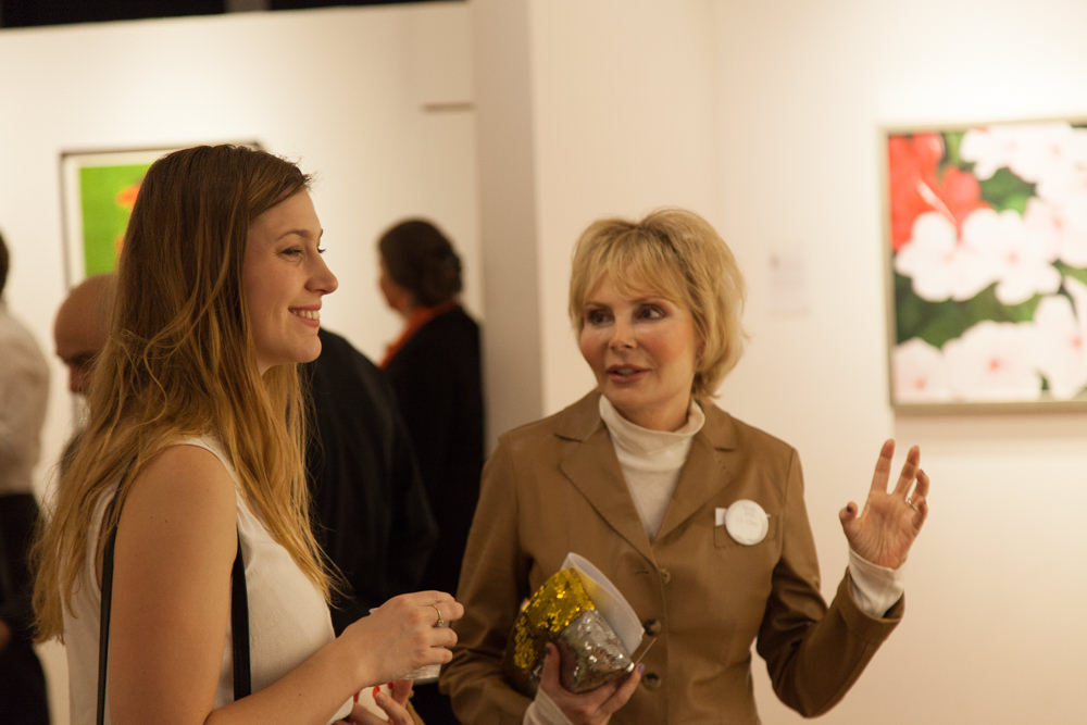 Artist L.A. Cline at the December 3rd reception at Agora Gallery