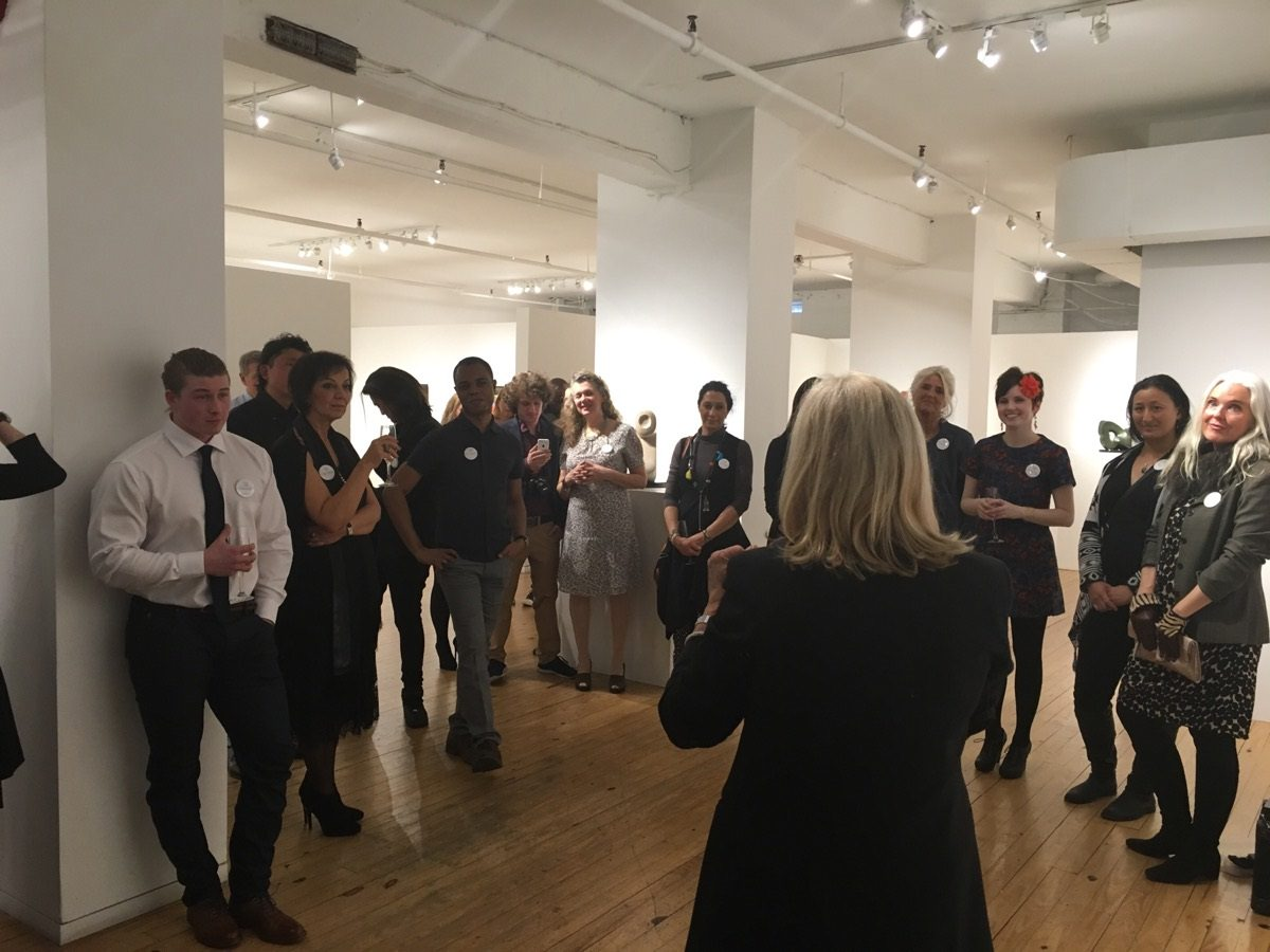 Gallery Director Angela Di Bello introducing the artists