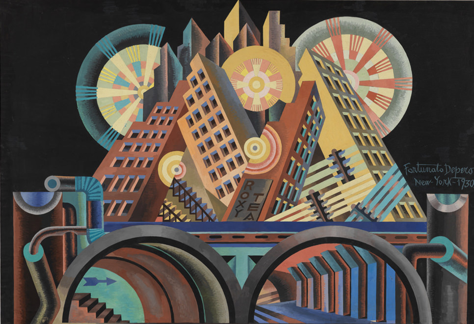 "Italian Futurist Fortunato Depero's ""Skyscrapers and Tunnels (Gratticieli e tunnel)"" Source: exhibitions.guggenheim.org/"