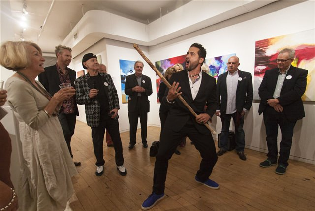 Jimmy James Kouratoras's mixed media work is inspired by local Maori culture. Knowing that New York audiences wouldn't be very familiar with it, he brought a bit of Maori culture from New Zealand to Chelsea with a live demonstration of a cultural tea.