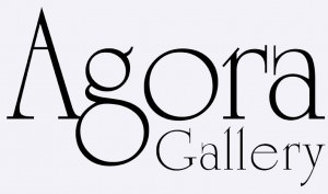 Agora Gallery's logo saved as a .jpg document. No matter what color the page is that this image is placed on, the background will be white.