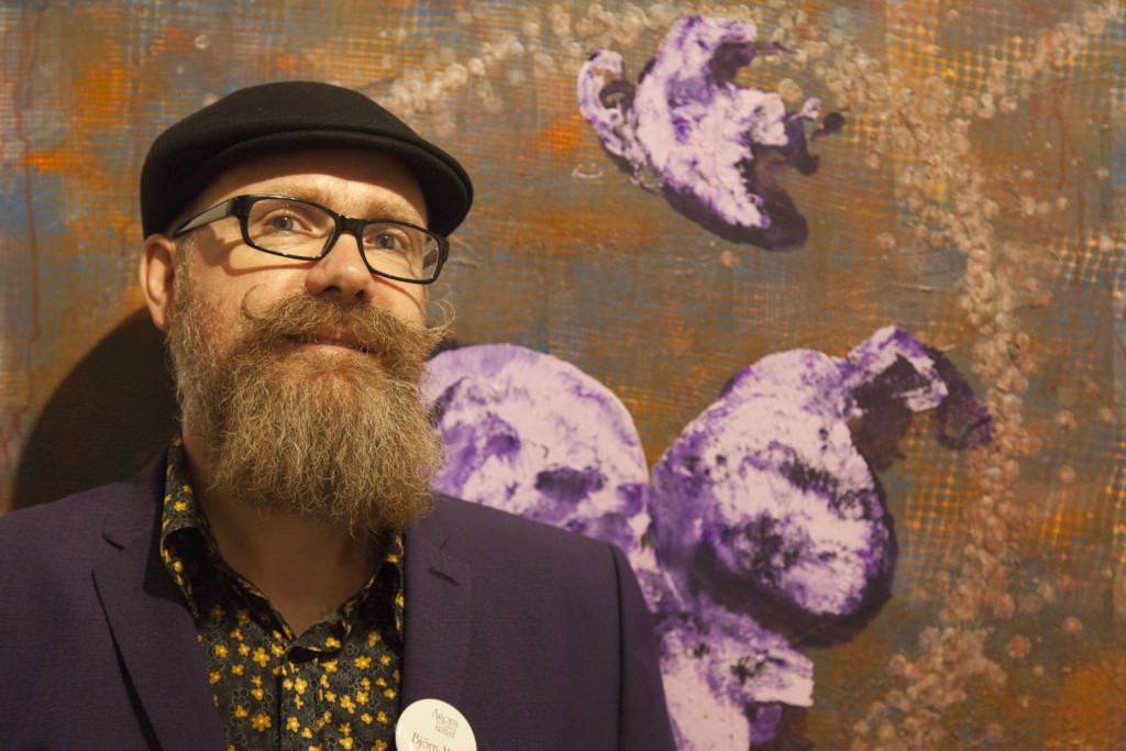 Björn Malm and his artwork at the recent November 5th reception.