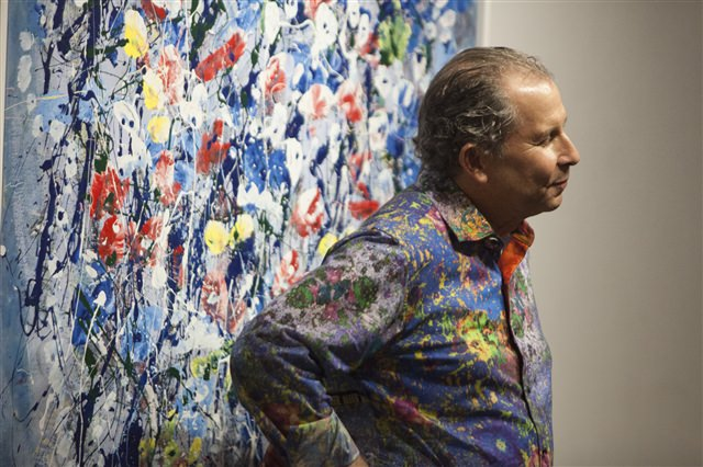 Mark Schiff during his August 27th, 2015 opening reception at Agora Gallery.