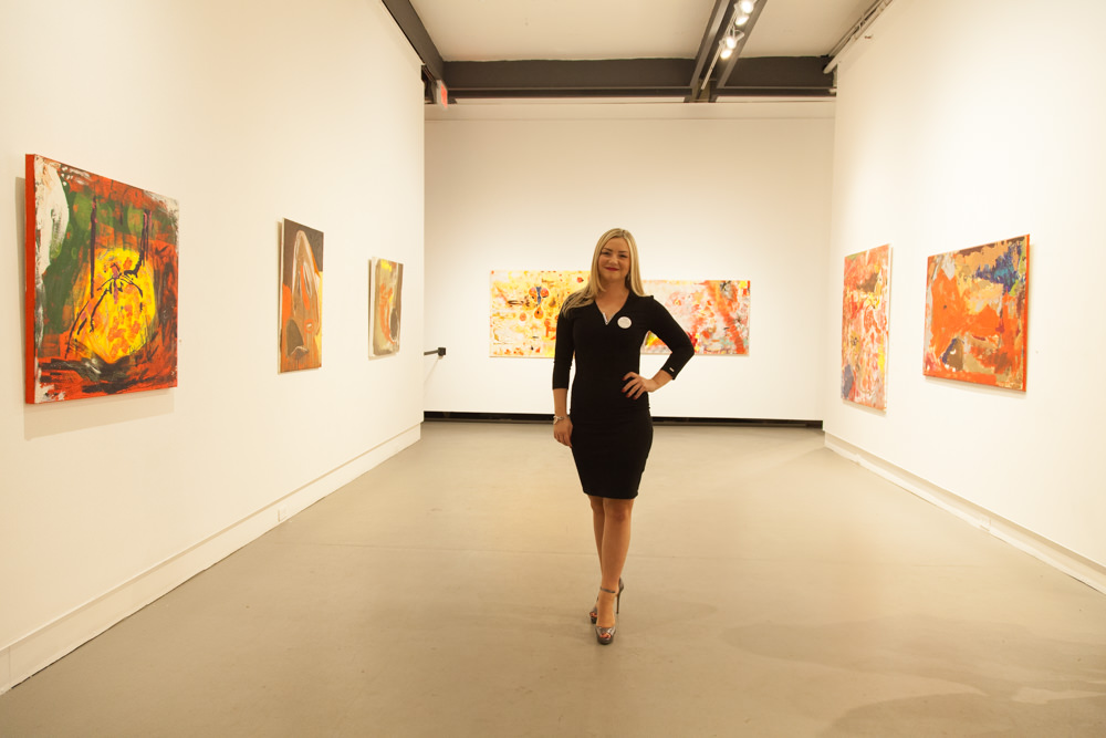 Oliwia Biela and her pieces at the December 3rd opening at Agora Gallery