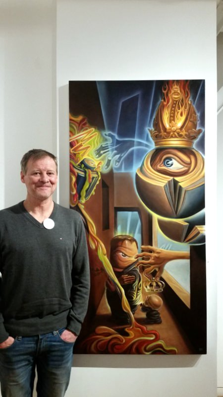 """Artist Gerd Dagne with his work """"The Finish Line,"""" Oil on Canvas, 60"""" x 30"""""""
