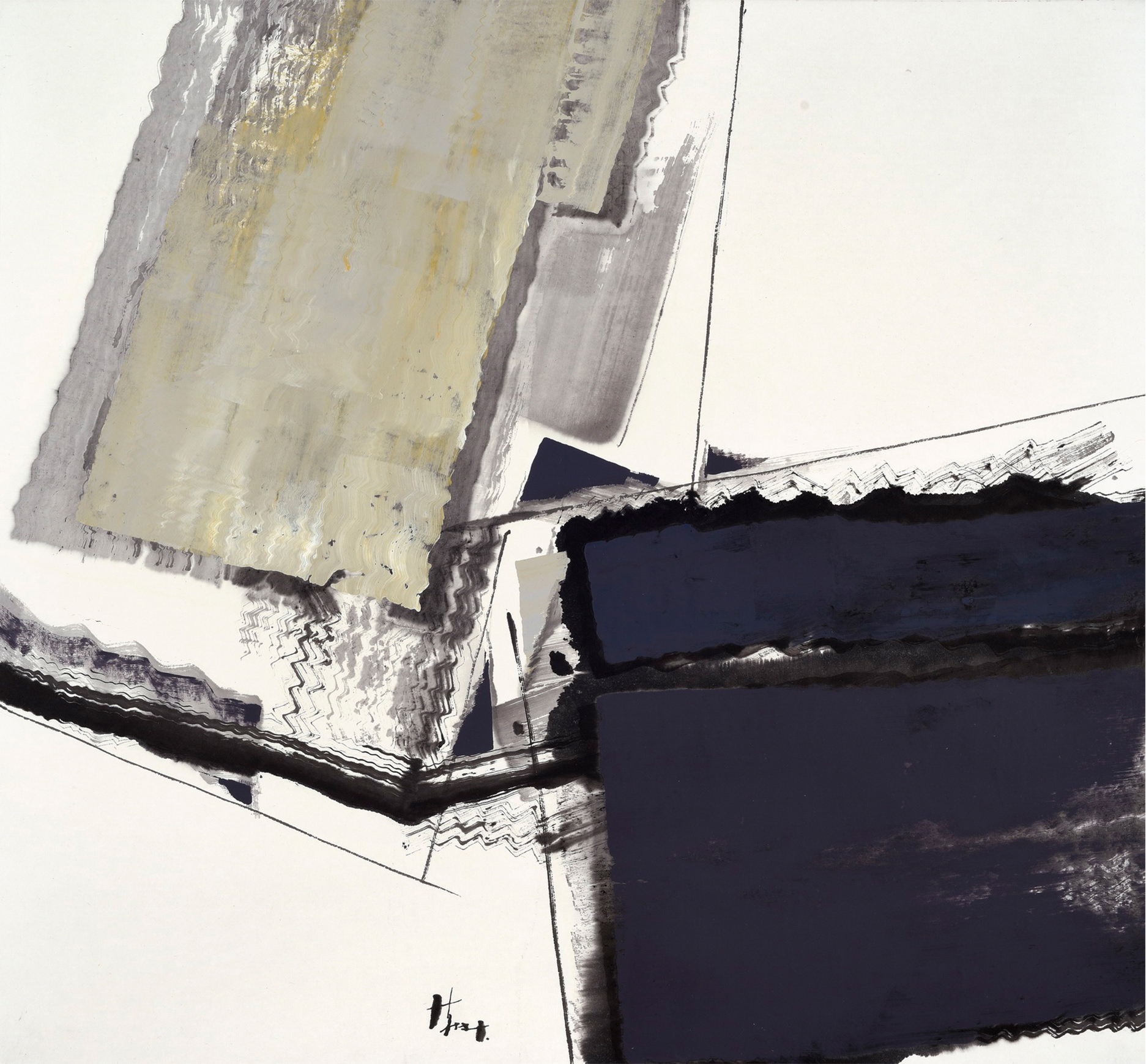 "Sherman Lin, ""Falling Mountain No. 68,"" Ink and Mixed Media on Canvas, 38"" x 35.5"""