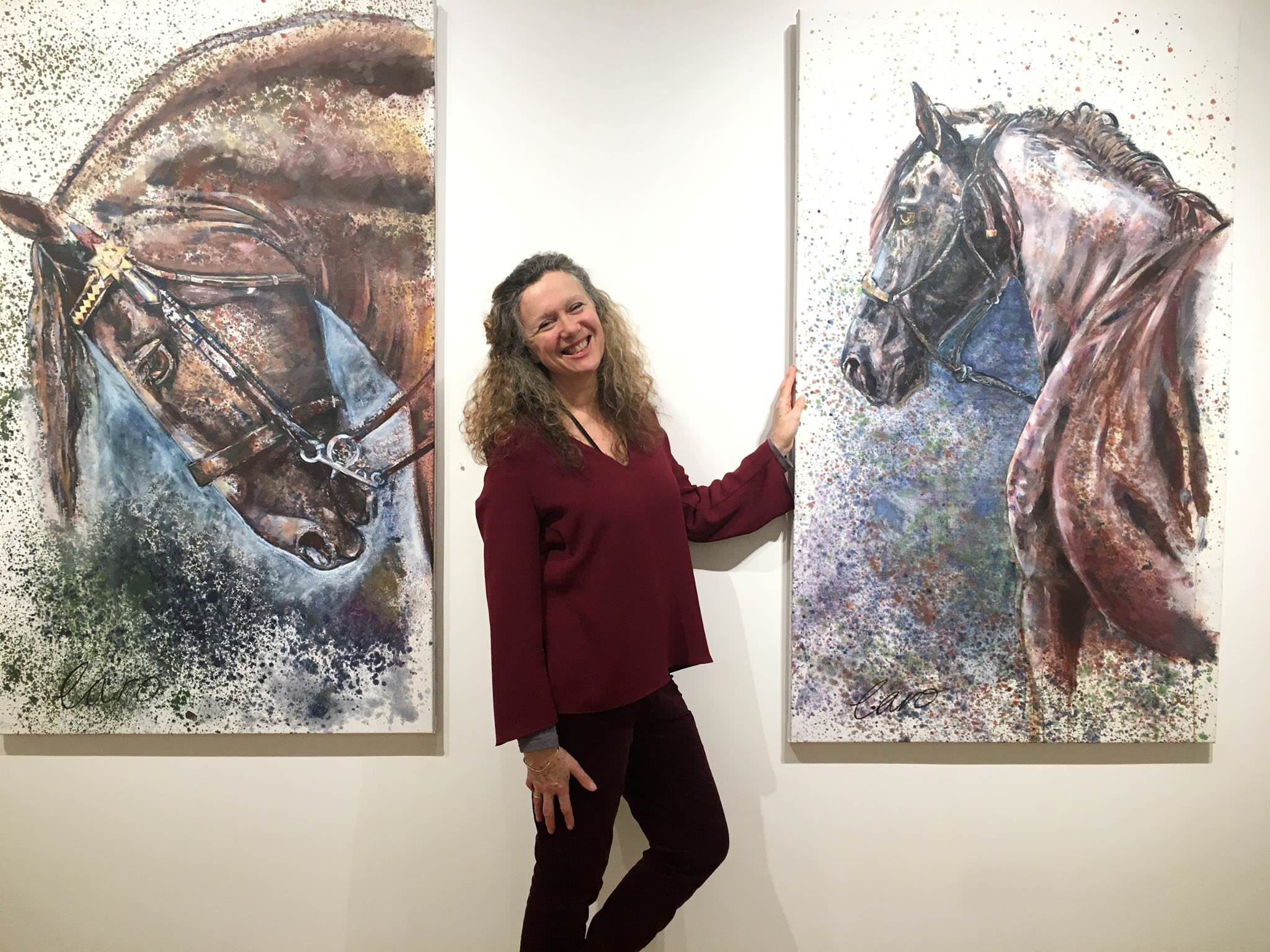 Caro Ward with her works