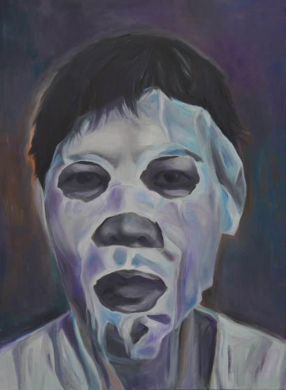 "Grace Dam, ""The Mask,"" Oil on Canvas, 40"" x 30"""