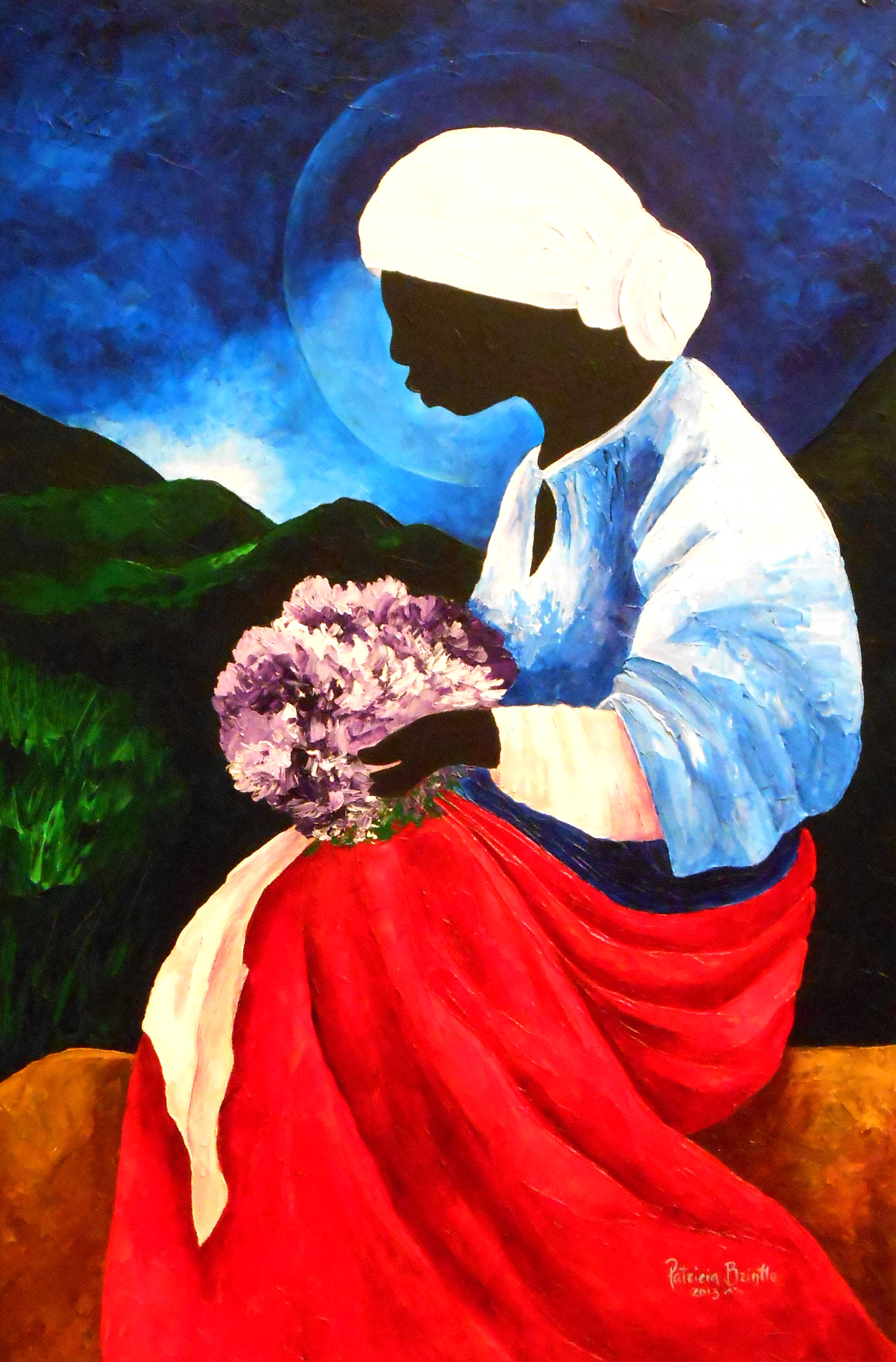 "Patricia Brintle, ""Madonna of the Lilacs,"" Acrylic on Canvas, 60"" x 24"""