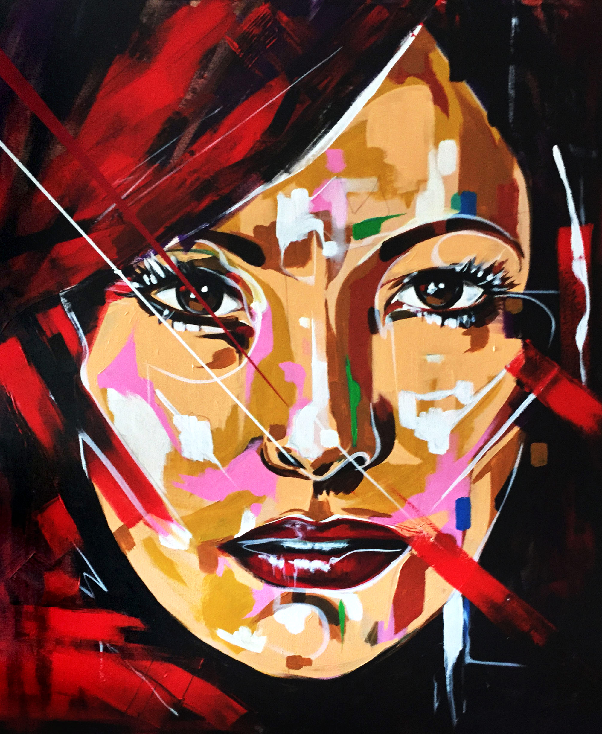 """Viccas, """"Red Lights,"""" Acrylic on Canvas, 55"""" x 47"""""""
